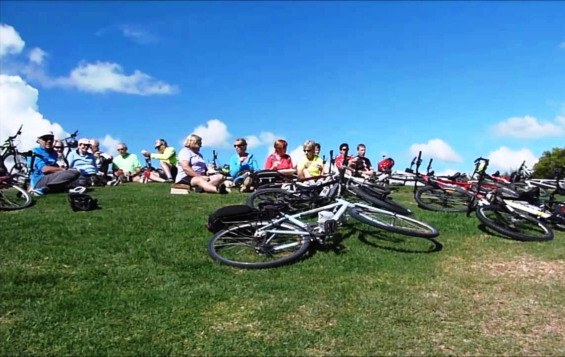 Group of cyclists resting